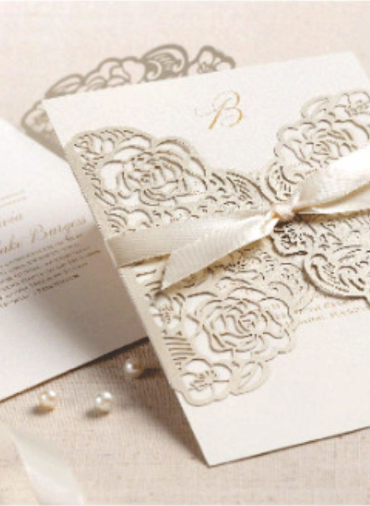 White letterpress invitation