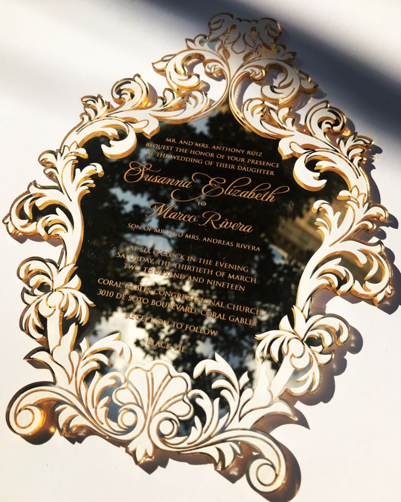 Mirror Gold acrylic laser cut invitation